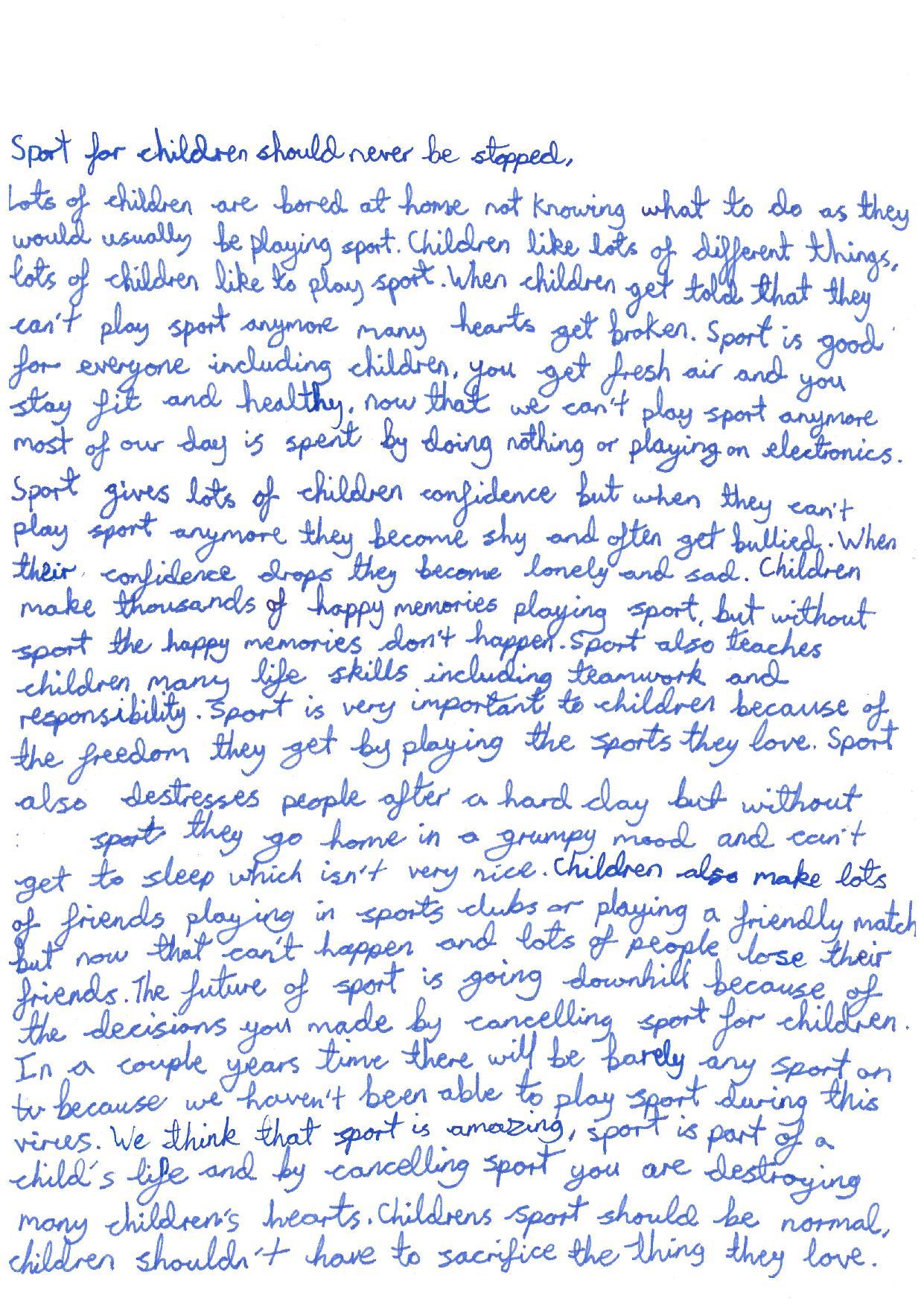 children sports letter covid