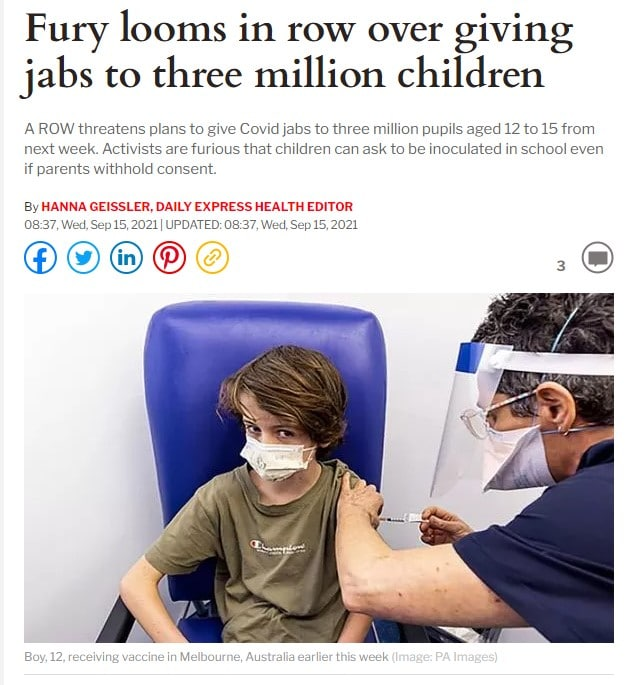 Fury looms in row over giving jabs to three million children