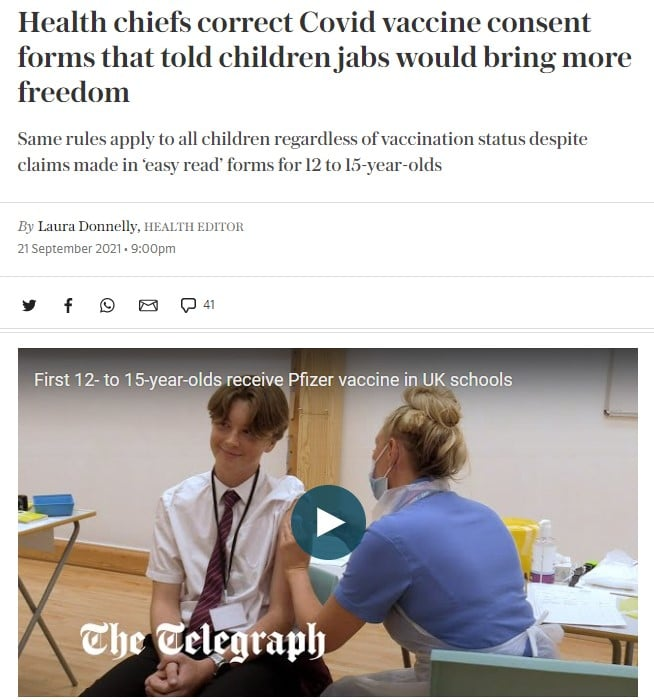 Health chiefs correct Covid vaccine consent forms that told children jabs would bring more freedom