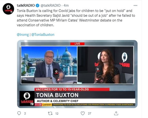 """Health Secretary Sajid Javid """"should be out of a job"""" after he failed to attend Conservative MP Miriam Cates' Westminster debate on the vaccination of children."""